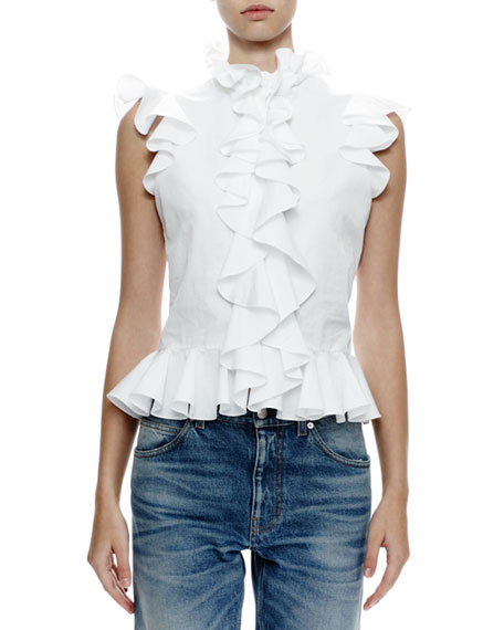 McQueen White Ruffled Top 1