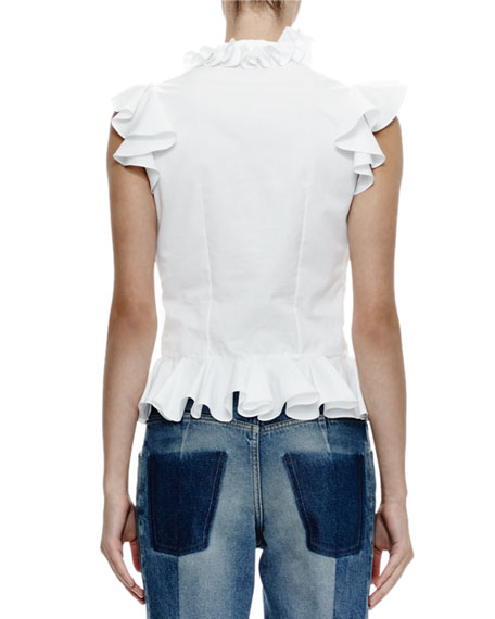 McQueen White Ruffled Top 2